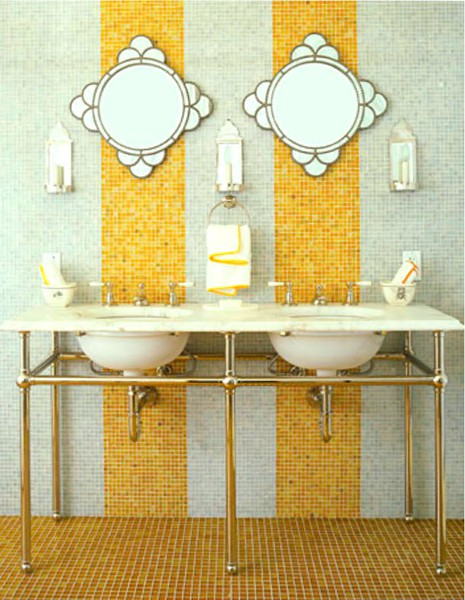 Bathroom tiles mustard yellow Pandas House