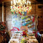 rainbow chandelier dining decor