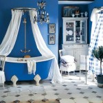 bold blue and white country bathroom design