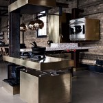 gold industrial kitchen