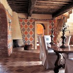Dining room in Belvedere castle in Umbria Italy.