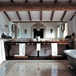 Bathroom in Belvedere castle in Umbria Italy.