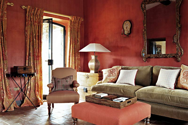 Red Lounge room in Belvedere castle in Umbria Italy