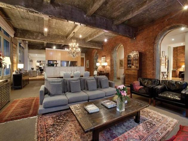 Leicester House warehouse apartment living room