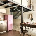 industrial loft kitchen with pink fridge