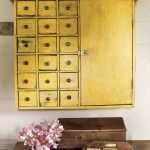 mustard yellow vintage cabinet