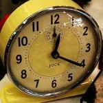 Clock in mustard yellow