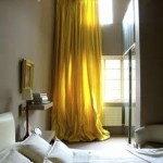Curtains in mustard yellow