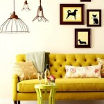 tufted couch in mustard yellow