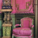 pink and green French country design armchair