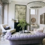 purple tufted sofa interior design