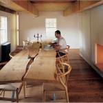 slab table and wishbone chairs