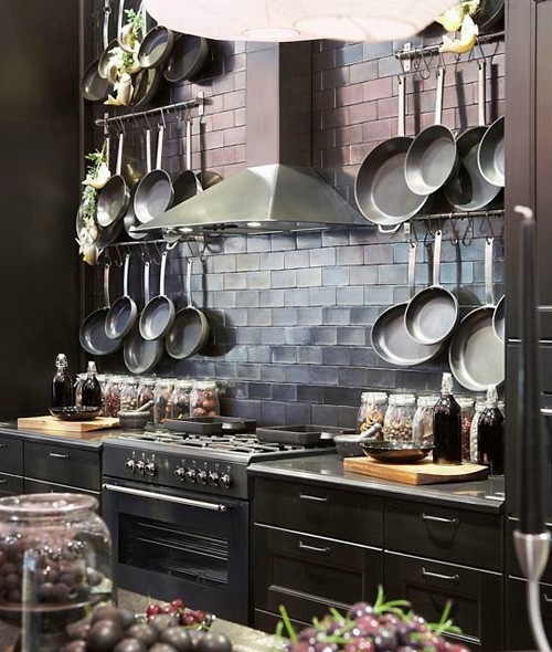 Wall mounted pot rack kitchen