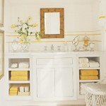 Bathroom in white and mustard yellow