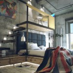 Industrial style loft bedroom