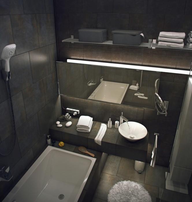 Industrial style loft bathroom