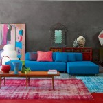 red and blue modern living room