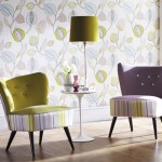 purple and green chairs and wallpaper