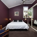 plum and white bedroom decor
