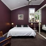 plum and white bedroom decor