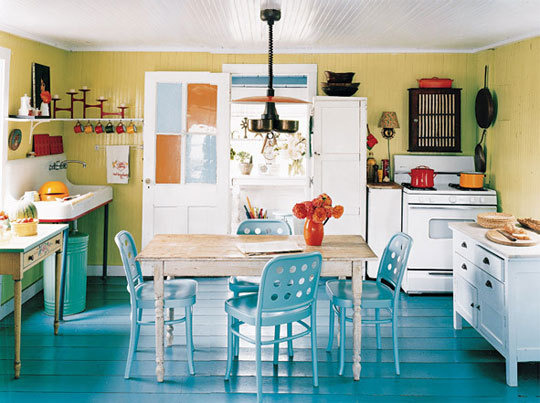 Turquoise and Yellow Kitchens  Panda's House