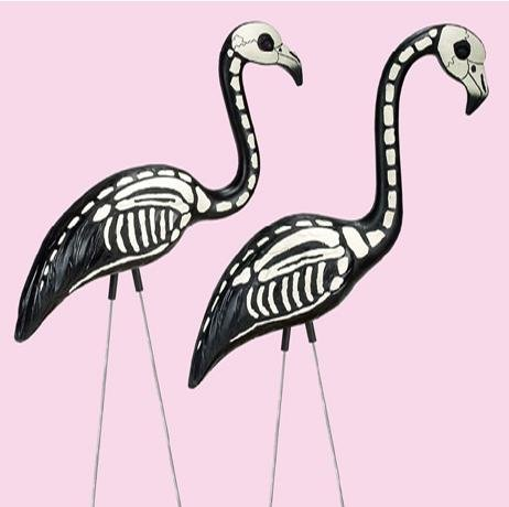flamingo skeleton hallowwen decoration