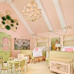 pastel green and pink bedroom
