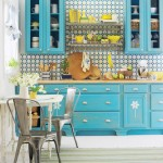 turquoise and yellow kitchen