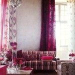 eclectic glam pink interior living room