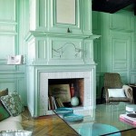 firplace and walls painted mint green