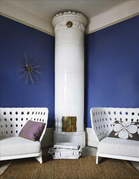 living room interior in blue and white
