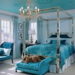 turquoise bedroom interior