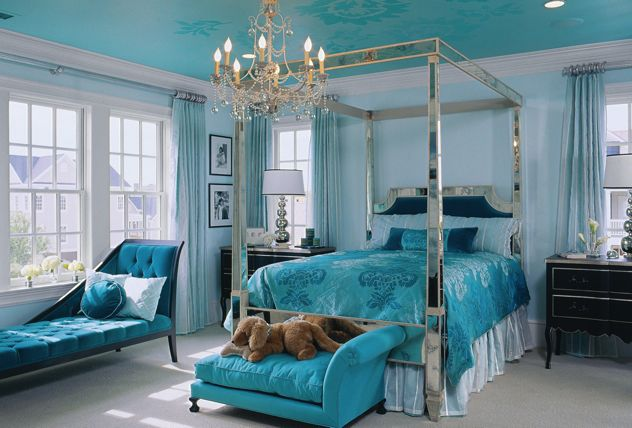 turquoise bedroom interior