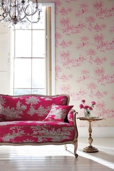 interior design in pink and toile