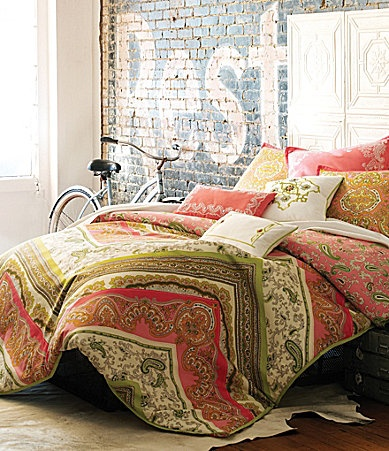 paisley pattern bedding in green and pink