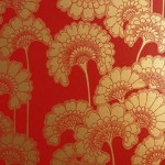 red and gold japanese print