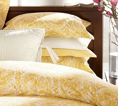 paisely bedding in yellow