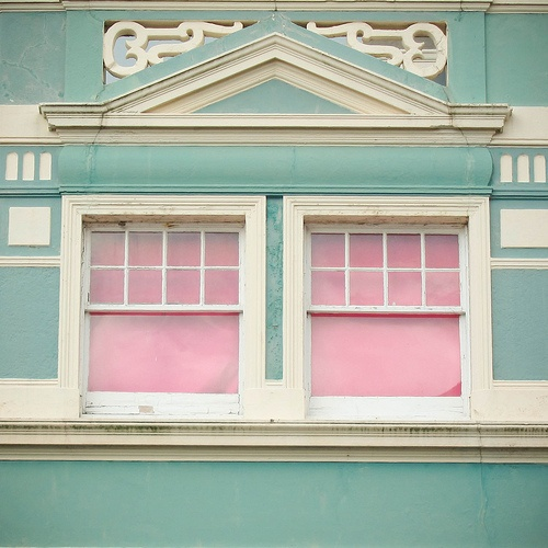 aqua and pink exterior window