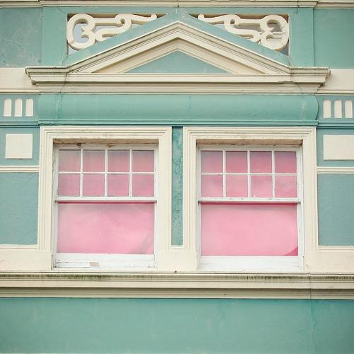 aqua and pink exterior window