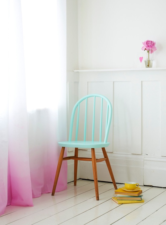 aqua and pink chair interior