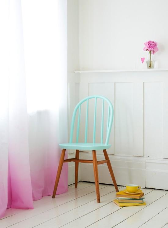 aqua and pink chair interior