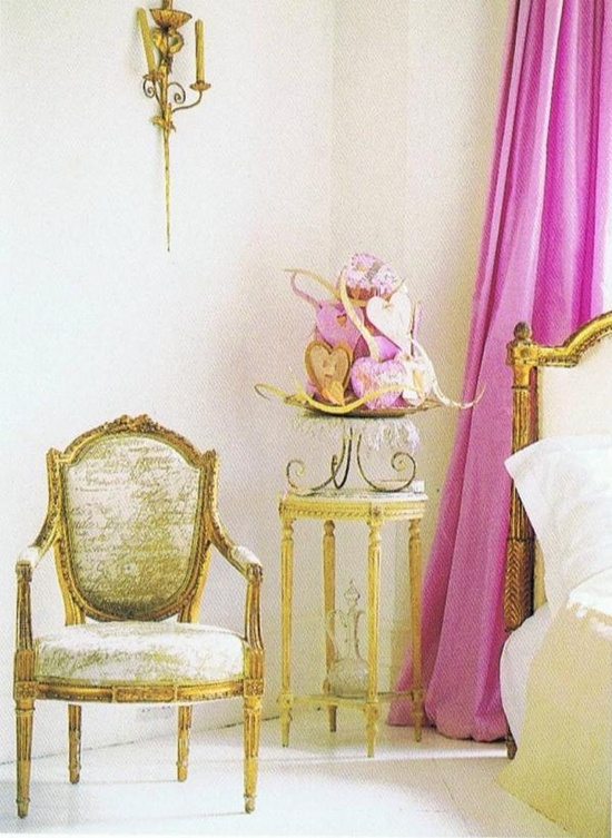 french bedroom in yellow and pink