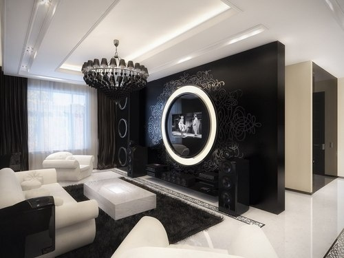 black white glamour living room-1