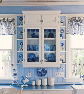 Blue and white country kitchen panda 39 s house - Light blue and white kitchen ...