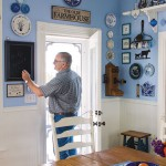 country kitchen in blue and white