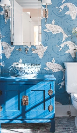 fish wallpaper bathroom in blue