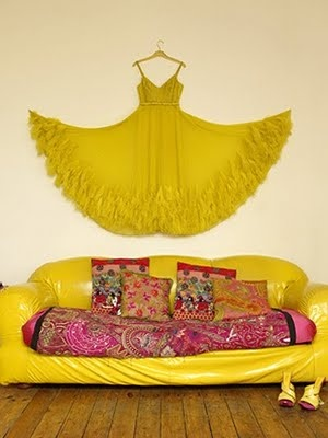 bohemian yellow and pink interior