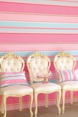 chairs in turquoise and pink