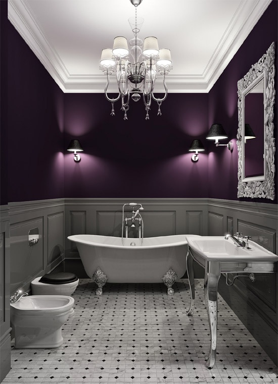 Grey And Purple Bathroom