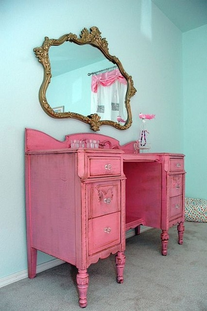interior cabinet in aqua and pink